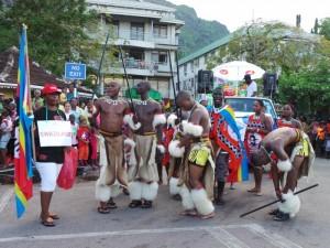 Tim Swaziland bersiap sebelum tampil