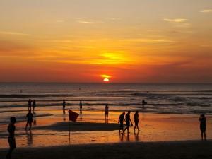 Kuta Beach on sunset